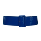 Women's Wide Patent Leather Fashion Belt Navy