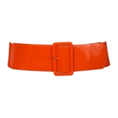 Women's Wide Patent Leather Fashion Belt Orange