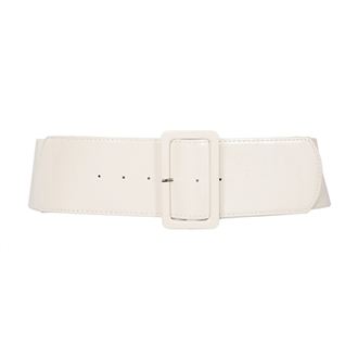 Women's Wide Patent Leather Fashion Belt White