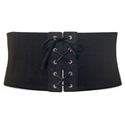 Plus size Corset Style Wide Elastic Belt Black Denim