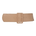 Women's Wide Patent Leather Fashion Belt Beige