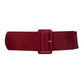 Women's Wide Patent Leather Fashion Belt Burgundy
