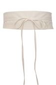 Plus size Faux Leather Obi Waistband Sash Belt Off White