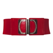 Rhinestone Wide Elastic Plus Size Belt Red