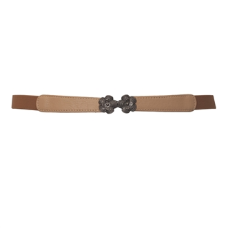 Plus Size Flower Buckle Skinny Stretchy Elastic Belt Beige