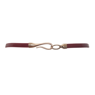 Plus size Adjustable Hook And Eye Buckle Patent Leather Skinny Belt Red