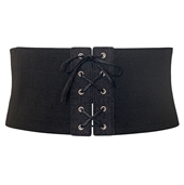 Women's Corset Style Wide Elastic Belt Black Denim