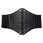 Women's Faux Leather Corset Style Wide Elastic Belt Black