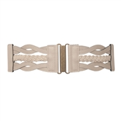 Plus Size Braided Elastic Leatherette Fashion Belt Khaki
