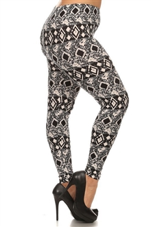 Plus Size Soft Full Length Seamless Basic Leggings Black Print 18329