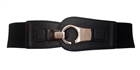 Plus size Brushed Silver Eyelet Locking Elastic Fashion Belt Black