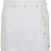 Plus Size Pearl Detail Faux Leather Waist String Belt White