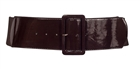 Plus Size Wide Patent Leather Fashion Belt Brown
