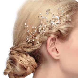 eVogues Bridal Prom Flower Hair Side Comb Accessory Rhinestone Headpiece Gold