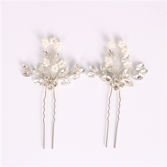 eVogues Bridal Prom Flower Hair Side Comb Accessory Rhinestone Headpiece Silver 181142