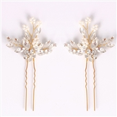 eVogues Bridal Prom Flower Hair Side Comb Accessory Rhinestone Headpiece Gold 181142
