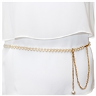 Plus Size Adjustable Pearl Chain Link Waist Belt 181020