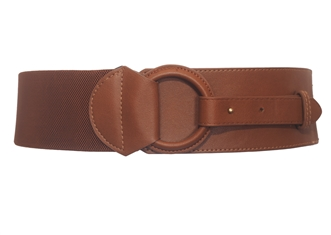Plus Size Leatherette O-ring Buckle Elastic Wide Fashion Belt Brown