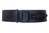 Women's Leatherette O-ring Buckle Elastic Wide Fashion Belt Black