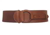 Women's Leatherette O-ring Buckle Elastic Wide Fashion Belt Brown
