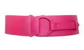 Women's Leatherette O-ring Buckle Elastic Wide Fashion Belt Hot Pink