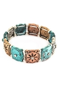 Engraved Arrow Metal Stretch Bracelet Patina Turquoise