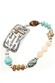 Engraved Metal Semi Precious Stone Stretch Bracelet Silver