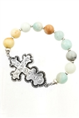 Rhinestone Cross pendant Stretch Bracelet