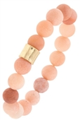 Semi Precious Stone Hammered Metal Bead Stretch Bracelet Pink