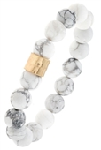 Semi Precious Stone Hammered Metal Bead Stretch Bracelet White