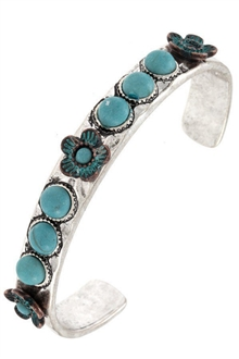 Flower and Gem Bead Accent Cuff Bracelet