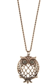 Cut Out Owl Pendant Long Necklace GB