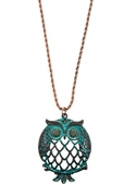 Cut Out Owl Pendant Long Necklace Copper Patina