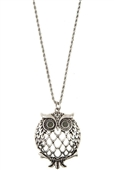Cut Out Owl Pendant Long Necklace SB