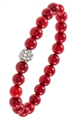 Rhinestone Orb Semi Precious Bead Stretch Bracelet Red