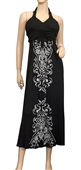 Plus Size Black Embroidered Maxi Halter Neck Cocktail Dress