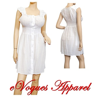 Plus size Sheer Button Front Babydoll Cotton Dress White