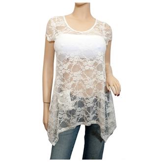 b50a9d6ac6d Plus size Sheer Floral Lace Top White