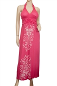 Plus Size Pink Embroidered Maxi Halter Neck Cocktail Dress