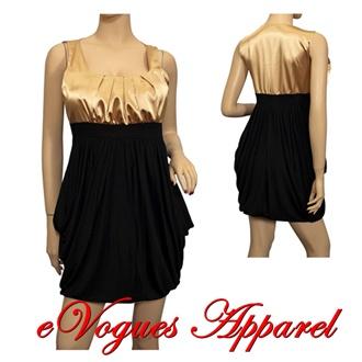 Jr Plus size Bubble Dress Gold Black | eVogues Apparel