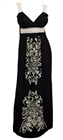 Plus Size Embroidery Print Empire Waist Maxi Dress Black