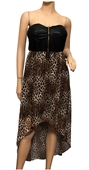 Plus size Strapless Zip-Front Hi-Lo Dress Animal Print