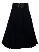 Plus size High Low Skirt with Elastic Belt Black