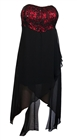 Plus size Sequined Bodice High-Low Chiffon Dress Red Black
