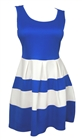 Plus size Color Block Flare Dress Blue White