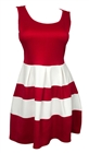 Plus size Color Block Flare Dress Red White