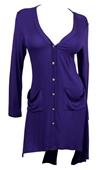 Plus size Button Front Longline Hi-Lo Cardigan Purple