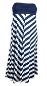 Plus size Striped Dress Skirt Navy Blue