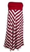 Plus size Striped Dress Skirt Burgundy