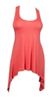 Plus size Laced Back Sleeveless Tunic Top Coral